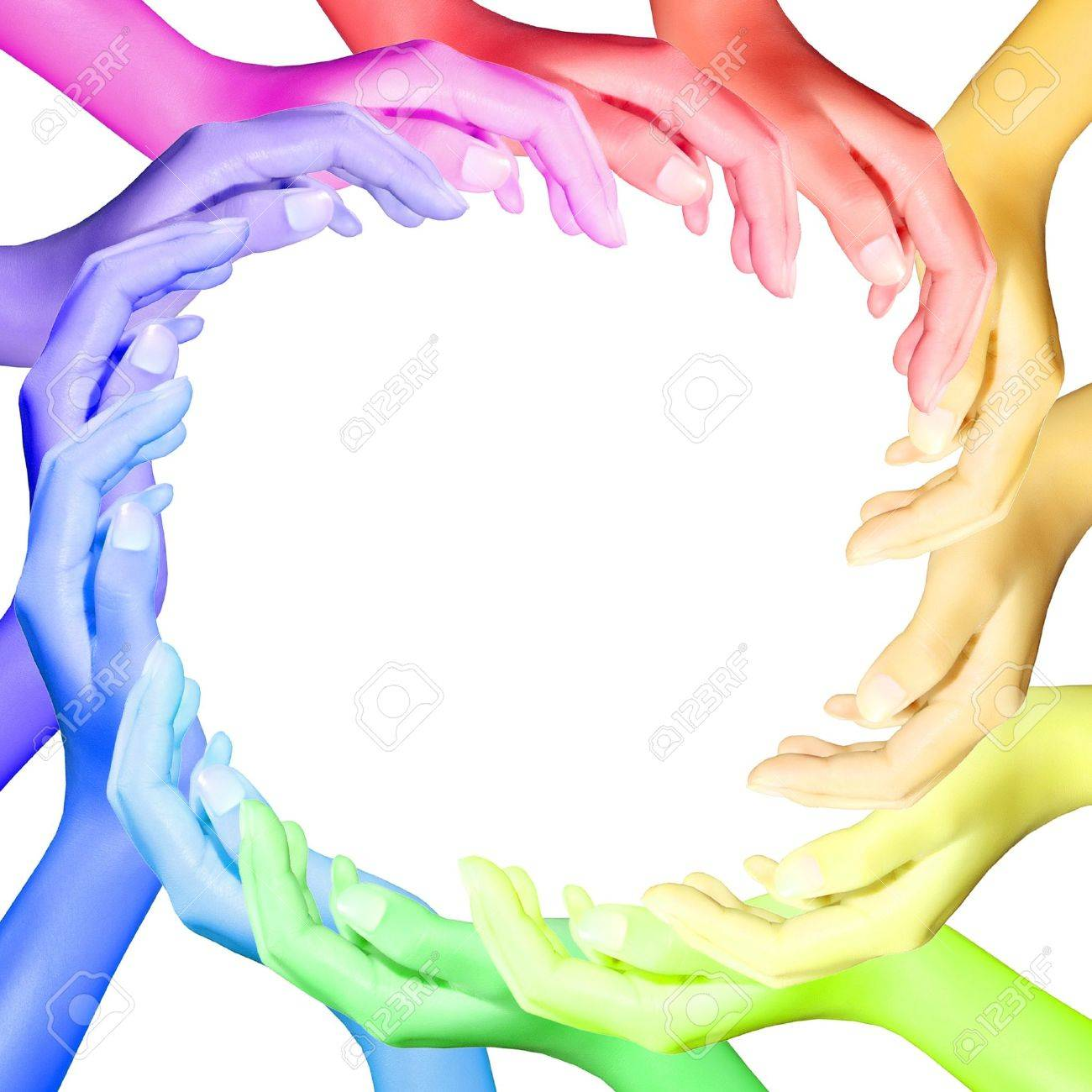 hands color making a circle Stock Photo - 10894779