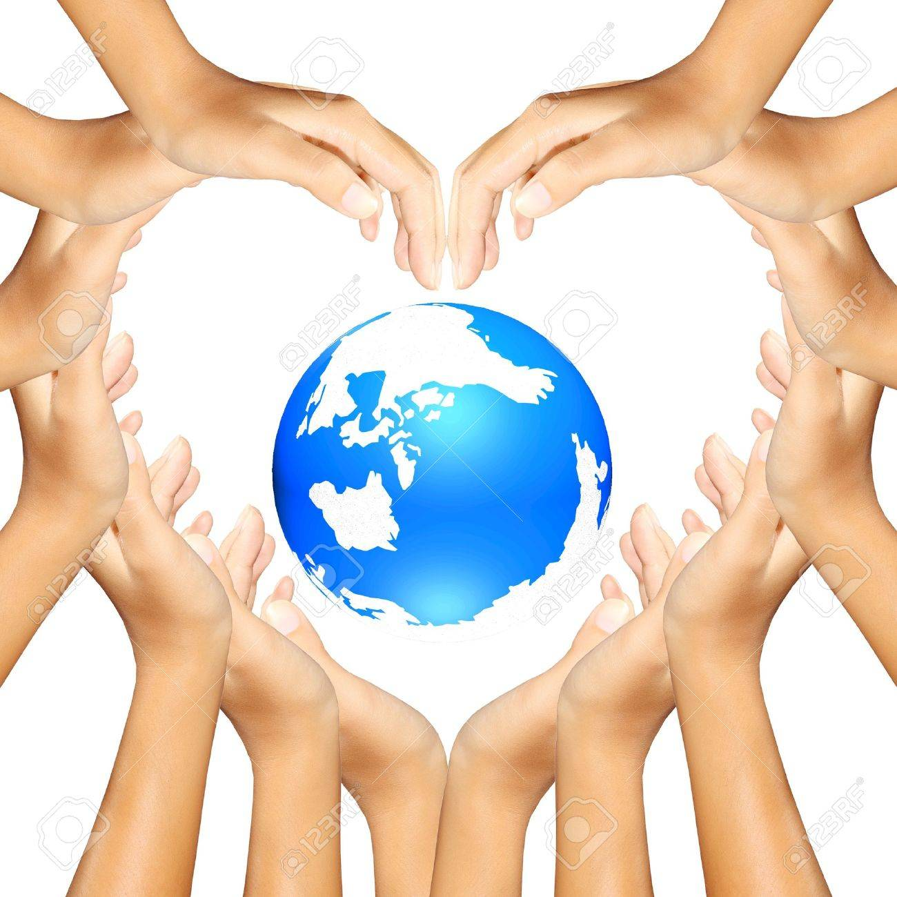 earth in hands making a heart Stock Photo - 11177092