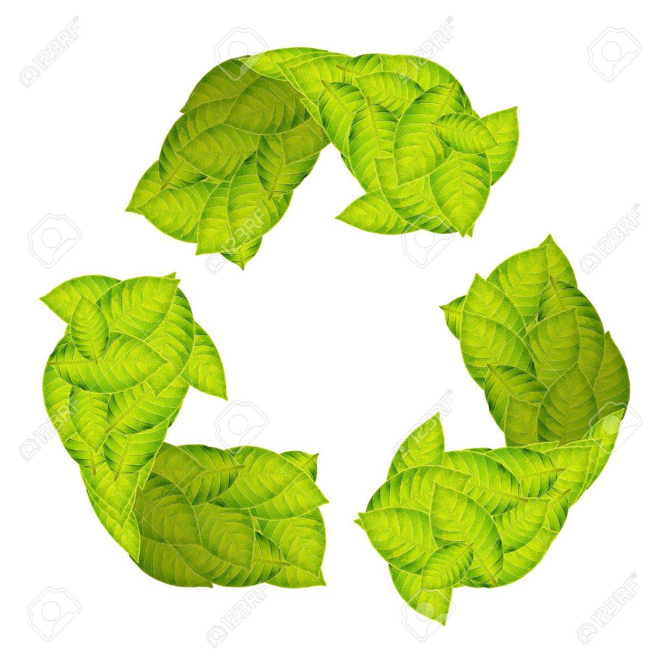 Recycle Logo with green leaves Stock Photo - 11621509