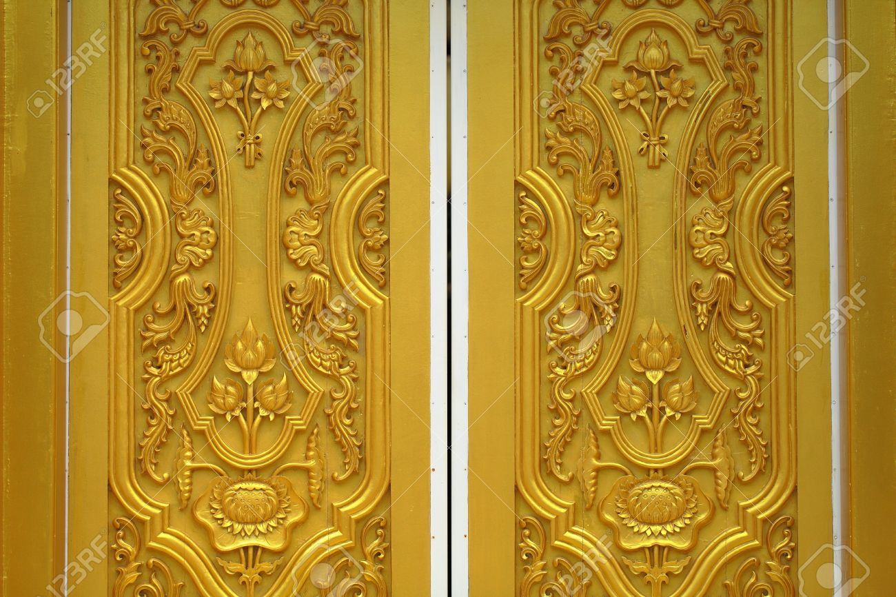Lotus carvings on the doors of the temple stock photo picture and