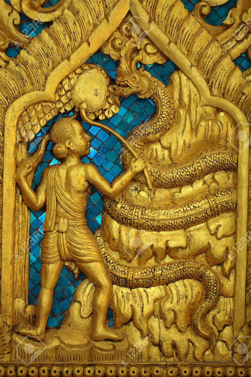 One of the carvings of many stories about the buddha thai buddhist