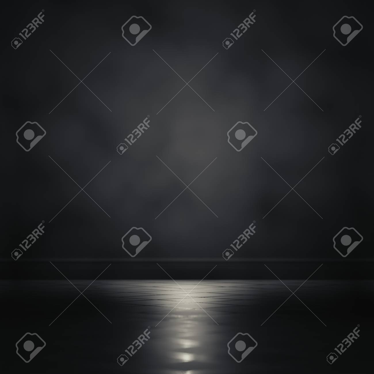 3d a enfocar la luz de representación en un cuarto oscuro.