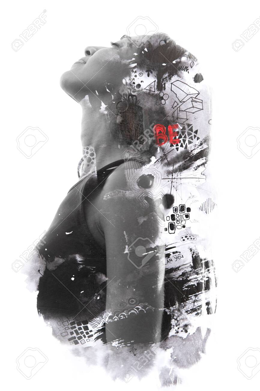 Paintography. Double exposure of woman's face and torso dissolving into particles and shapes with hidden messages - 130777987