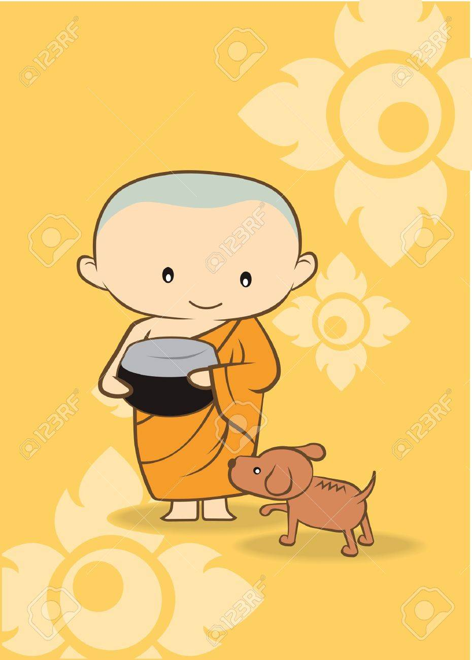 Thai cartoon Monk of thailand  yellow background Stock Vector - 18219452