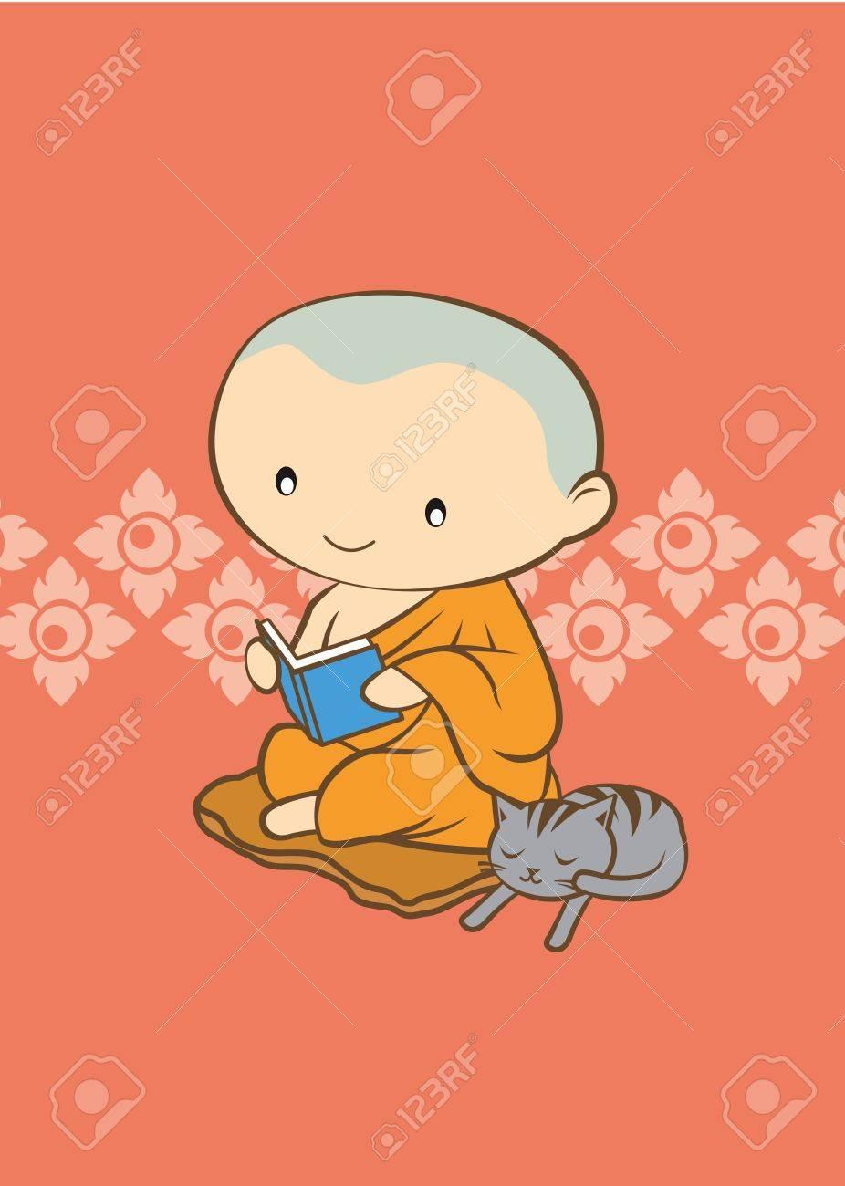 Thai cartoon Monk of thailand  orange background Stock Vector - 18219449