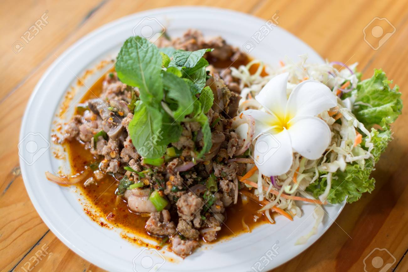 Spicy duck, Thailand food, local food, dishes, vegetables, frangipani,