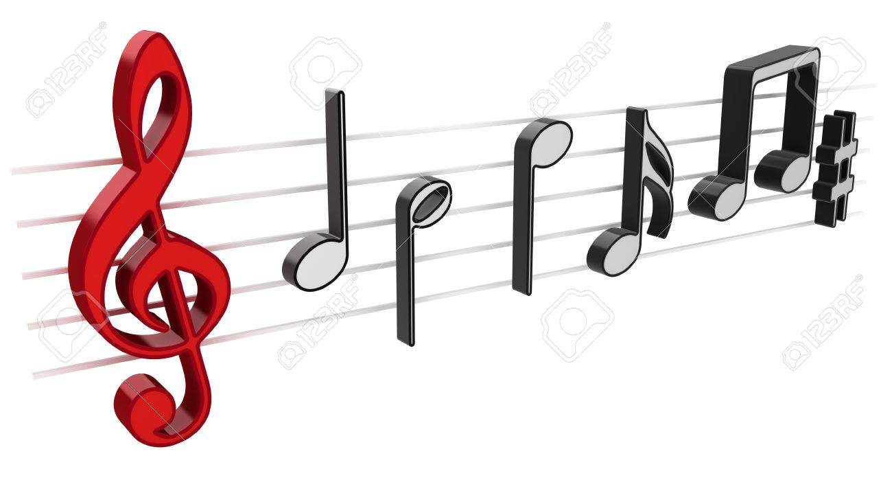 3D music notes on white background Stock Photo - 5562275