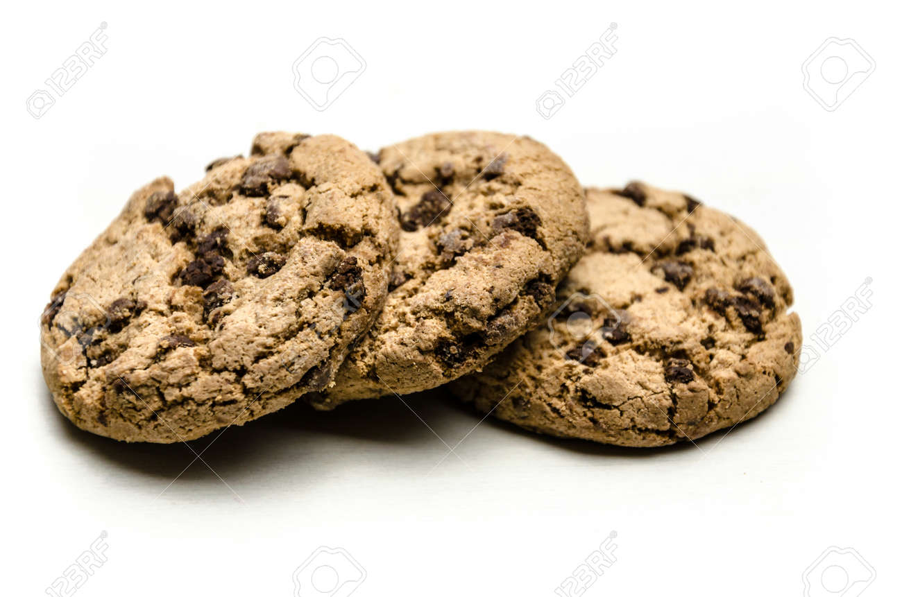 Close-up of homemade chocolate chip cookies isolated on white background. - 159610909