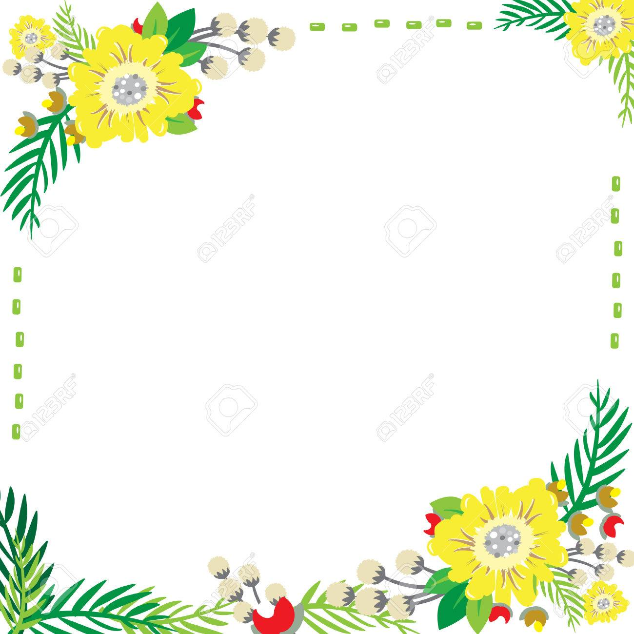 Flowers Frame Can Write Text In The Middle And Make Greeting.. Stock ...