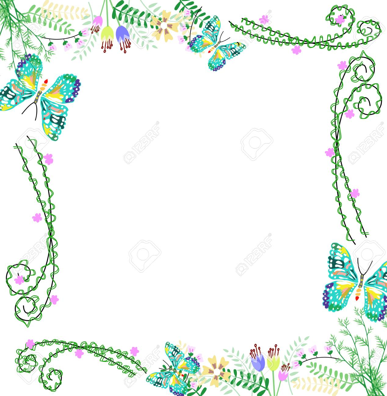 Nature Colorful Flower And Butterfly Frame Background,graphic Stock ...