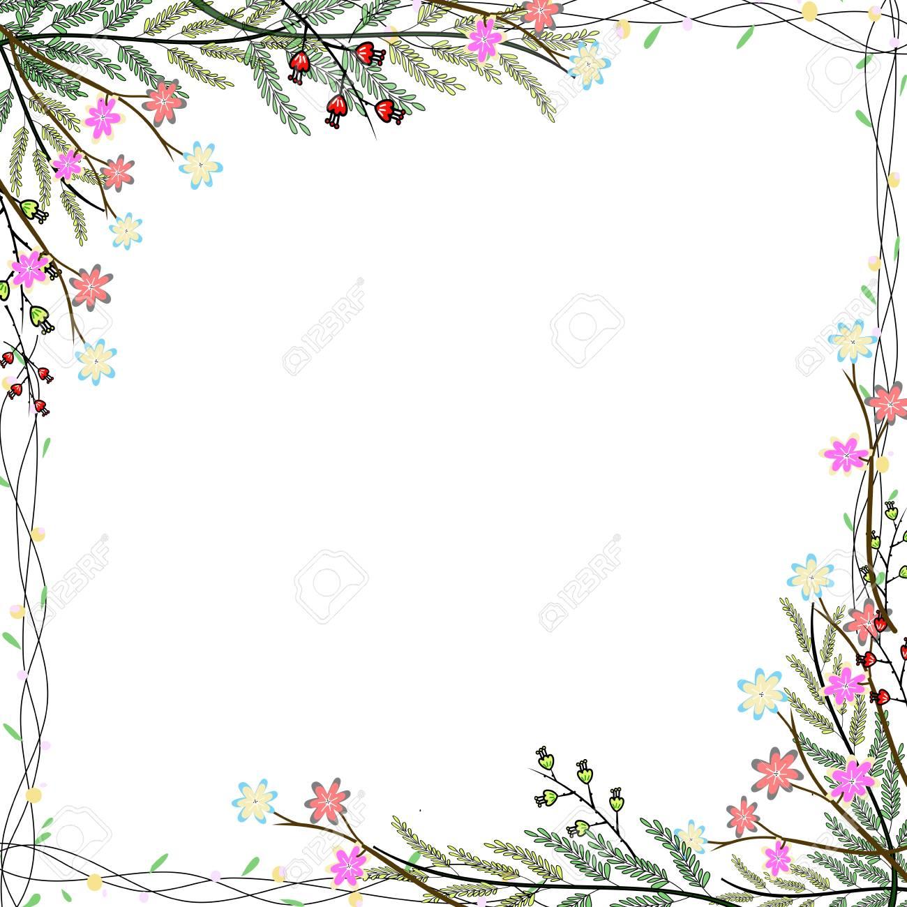 Nature Cadre Colore De Fleurs Dessin A La Main Fond Banque D