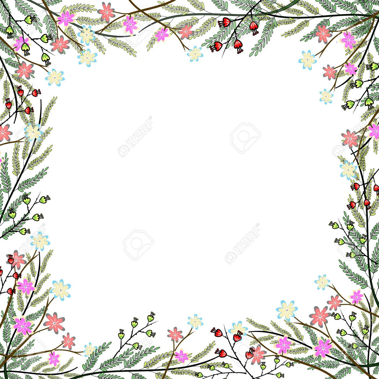 Nature Colorful Flower Frame Hand Drawing Background Stock Photo