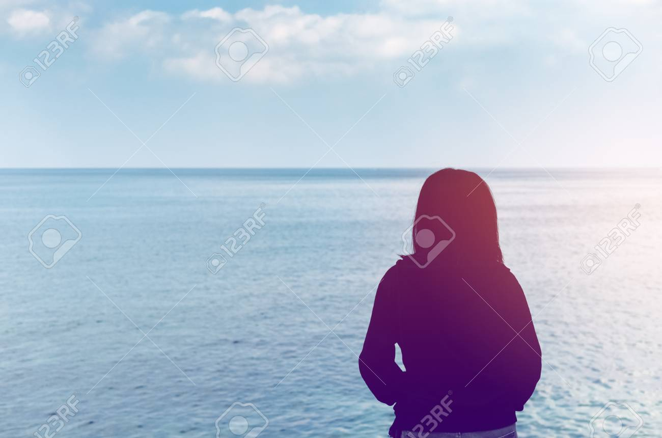 Copy Space Woman Looking View Of Beach Background Travel Adventure