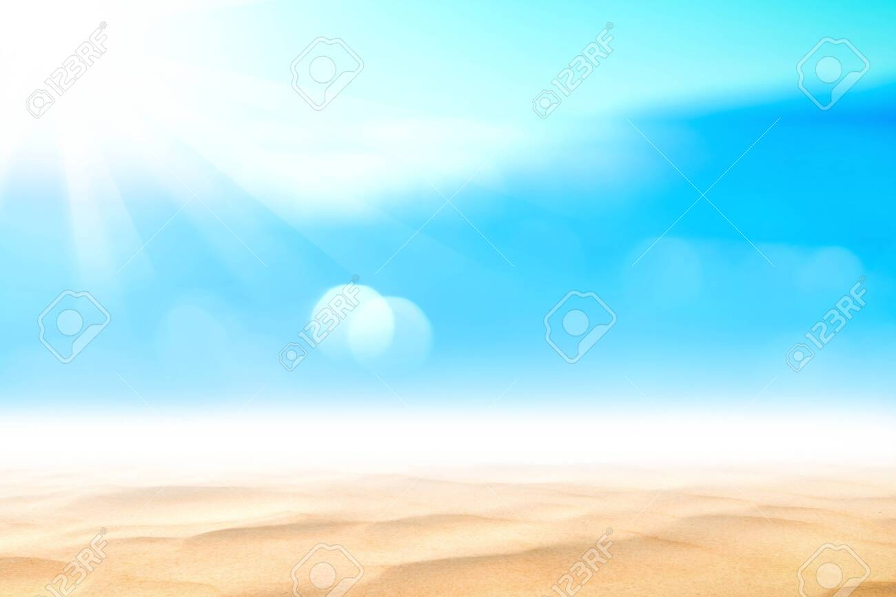 Summer vacation outdoor and travel holiday adventure concept.Copy space blur tropical beach with bokeh sun light wave on blue sky and white cloud abstract background. Vintage tone filter effect color. - 126833570