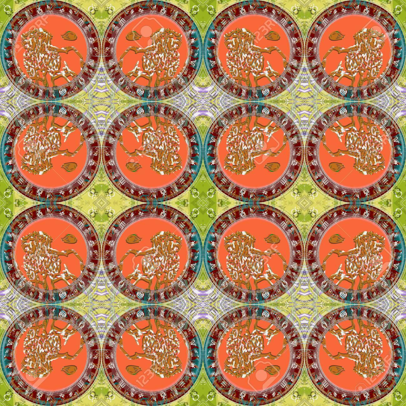 Seamless Pattern Zodiac Leo For Eg Fabric Wallpaper Wall