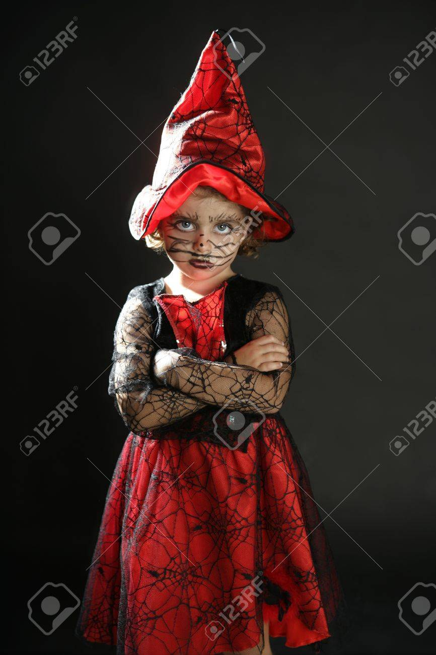 Toddler Beautiful Witch Girl Wearing Halloween Costume And Make ...