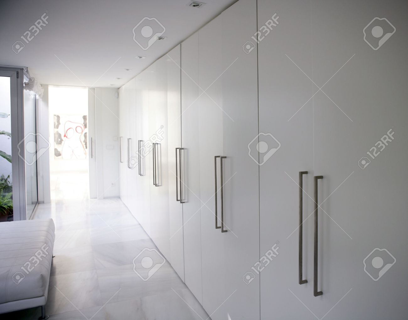 Modern White Long Marble Flooring Corridor Closet, Contemporary Wardrobe  Stock Photo   4187316