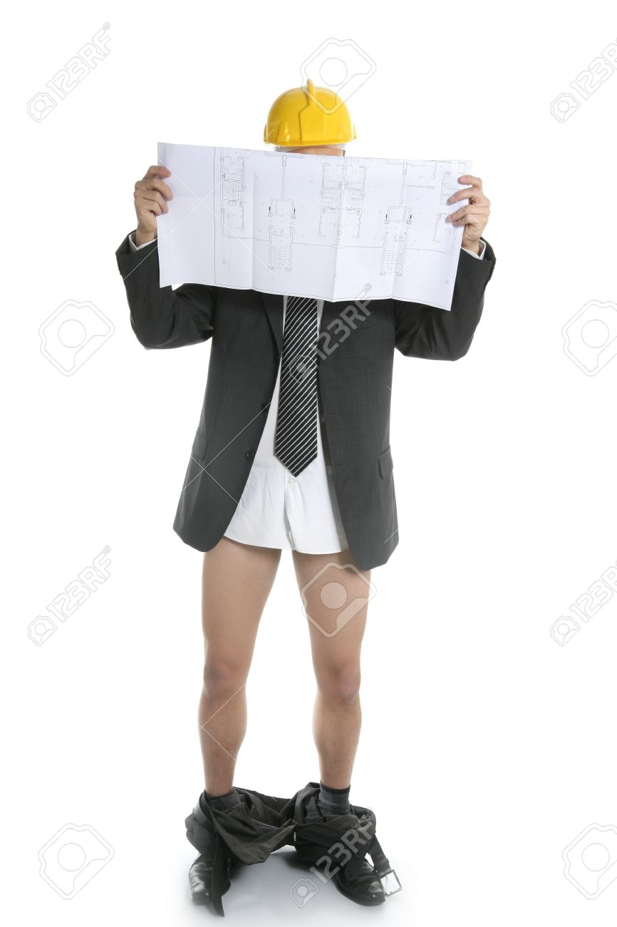 Architect scared by bad news report, pants falling down Stock Photo - 4417103