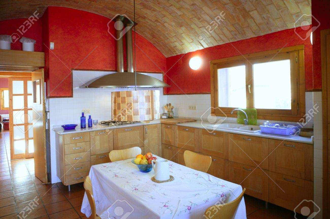 Red Wall Kitchen Kitchen With Barrelt Vault Ceiling Red Wall In Mediterranean