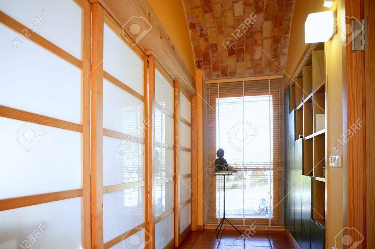 corridor with window, nice light interior on mediterranean house