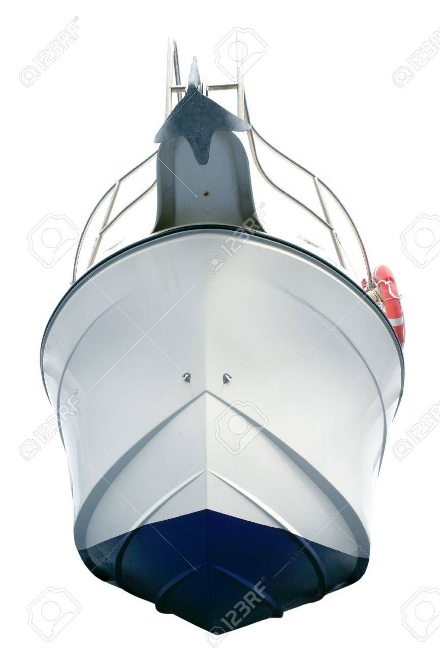 Beached white sport motor boat hull view from down isolated over white Stock Photo - 4980023
