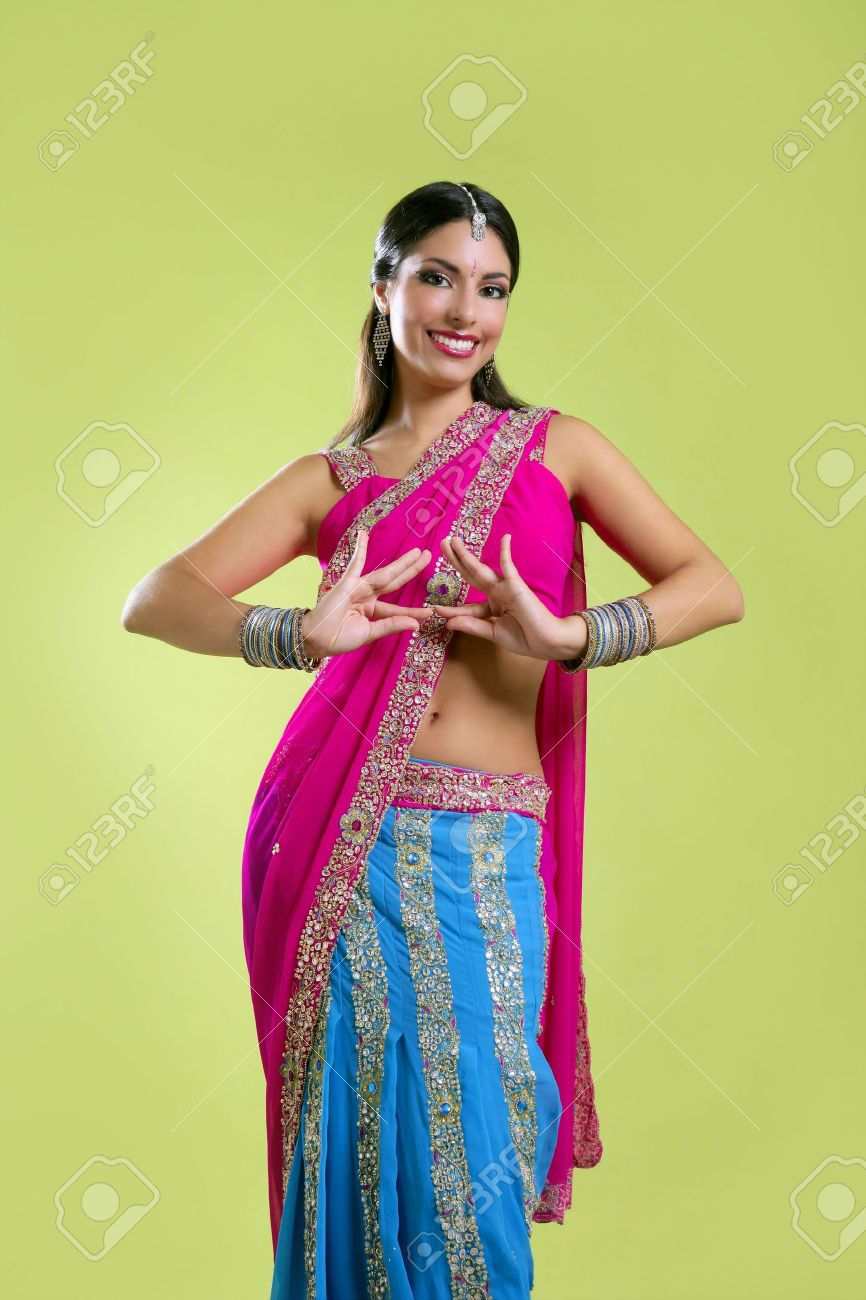 Brunette indian dancer princess Bollywood style, colorful sari Stock Photo - 5488048