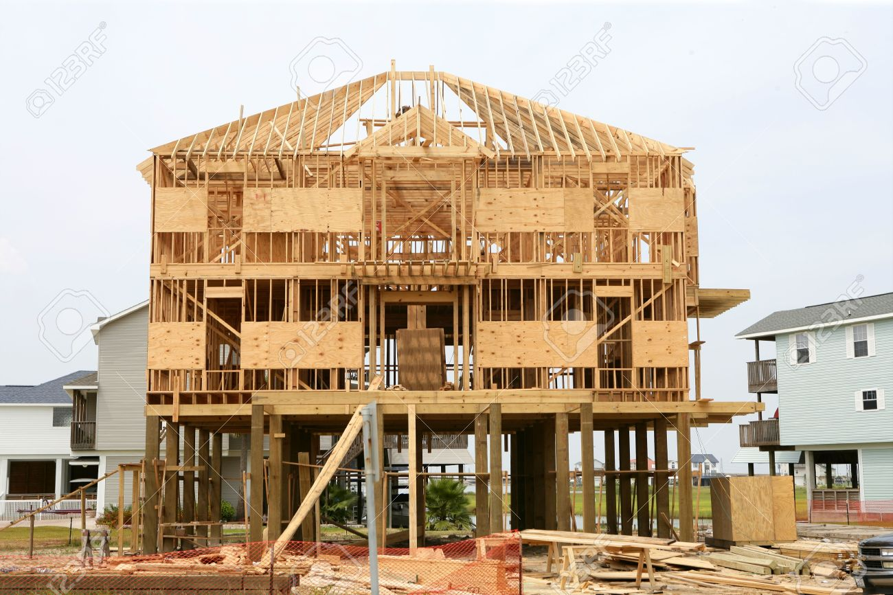 Stock Photo   Wood House Contruction, American Wooden Build Structure