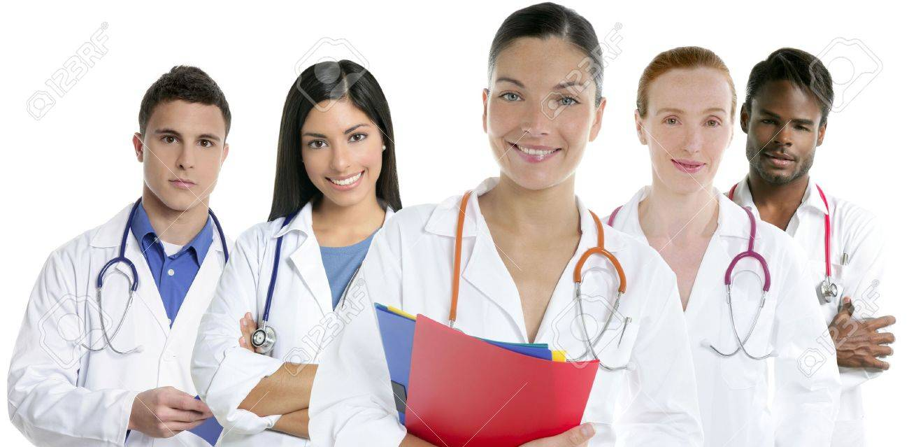 Doctors team group in a row on white background men and women doctor Stock Photo - 5821311