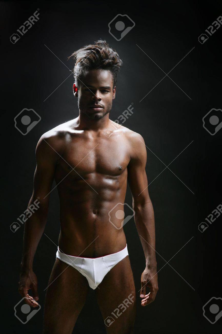 African american male model underwear at studio Stock Photo - 5897800