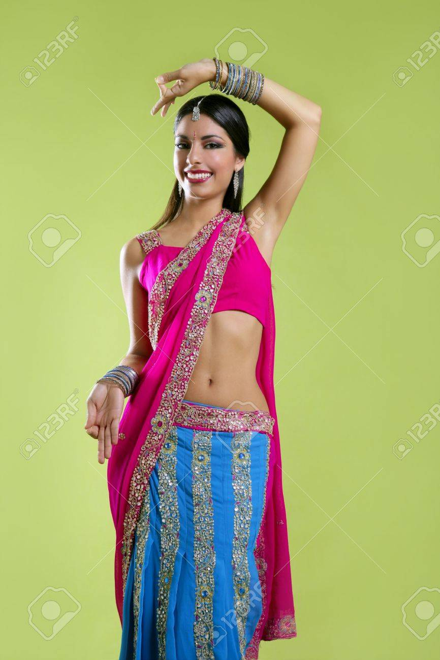 Brunette indian dancer princess Bollywood style, colorful sari