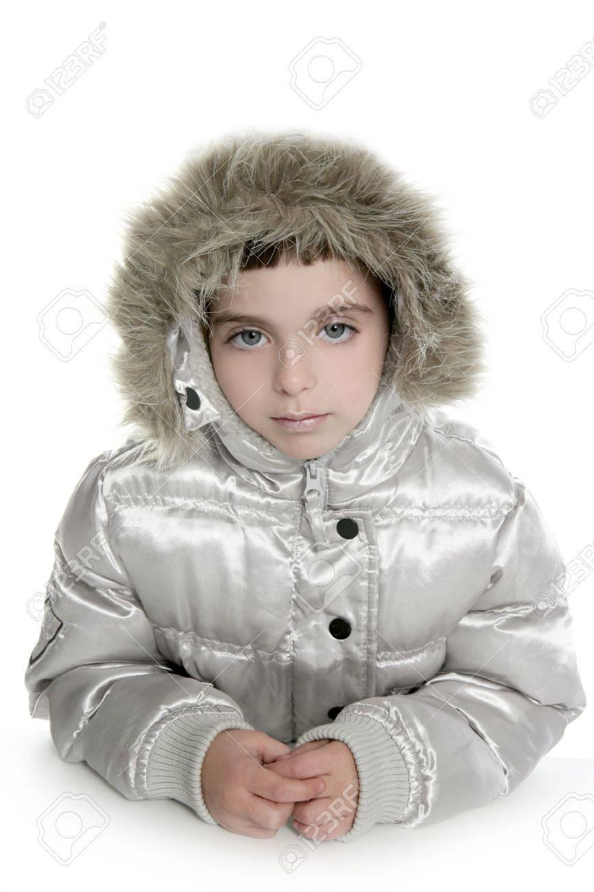 online for sale discount sale cheapest silver fur hood winter coat little girl portrait white background