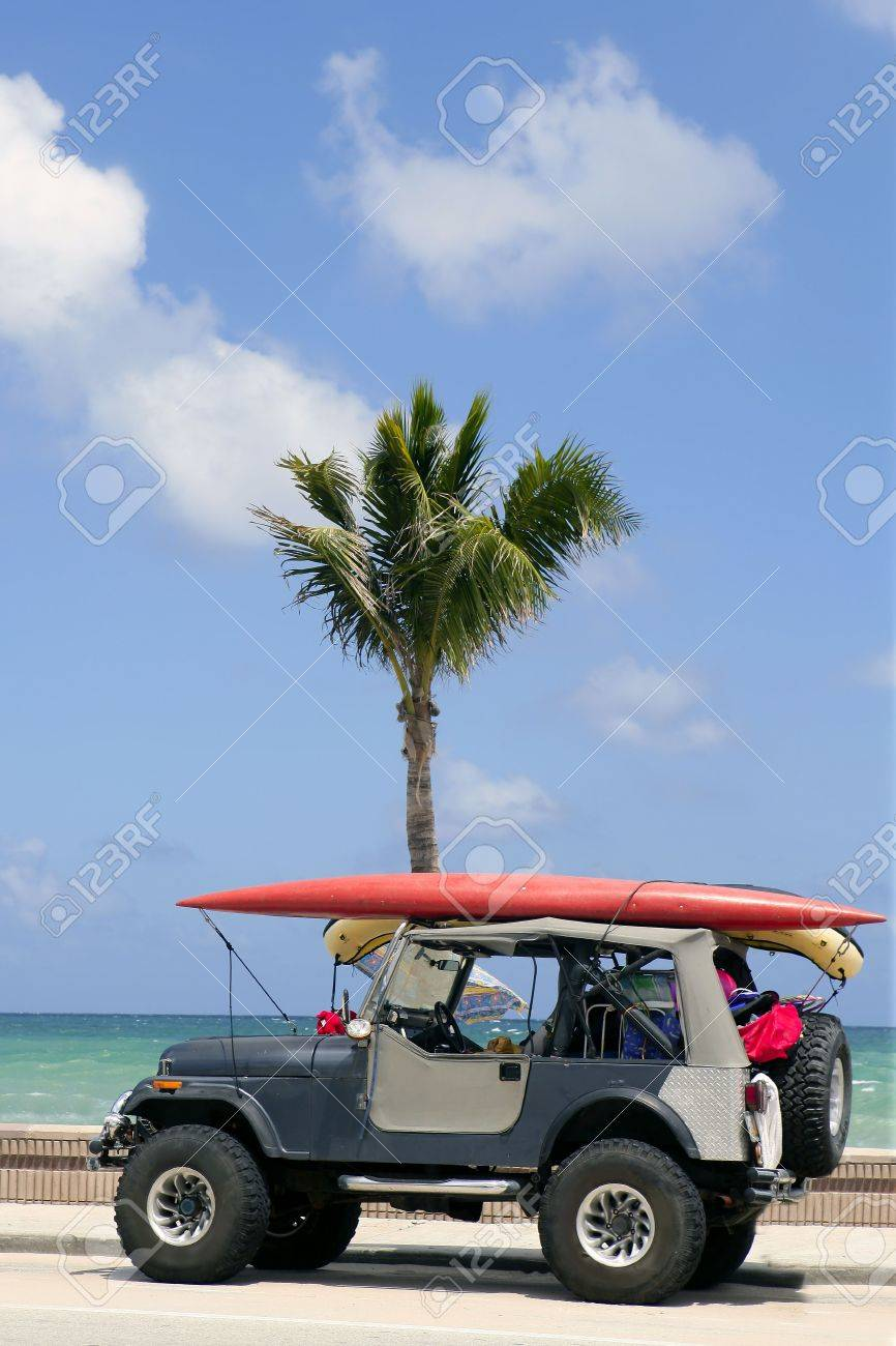 Florida surfer car with surfboard blue sky and palm tree Stock Photo - 6322487