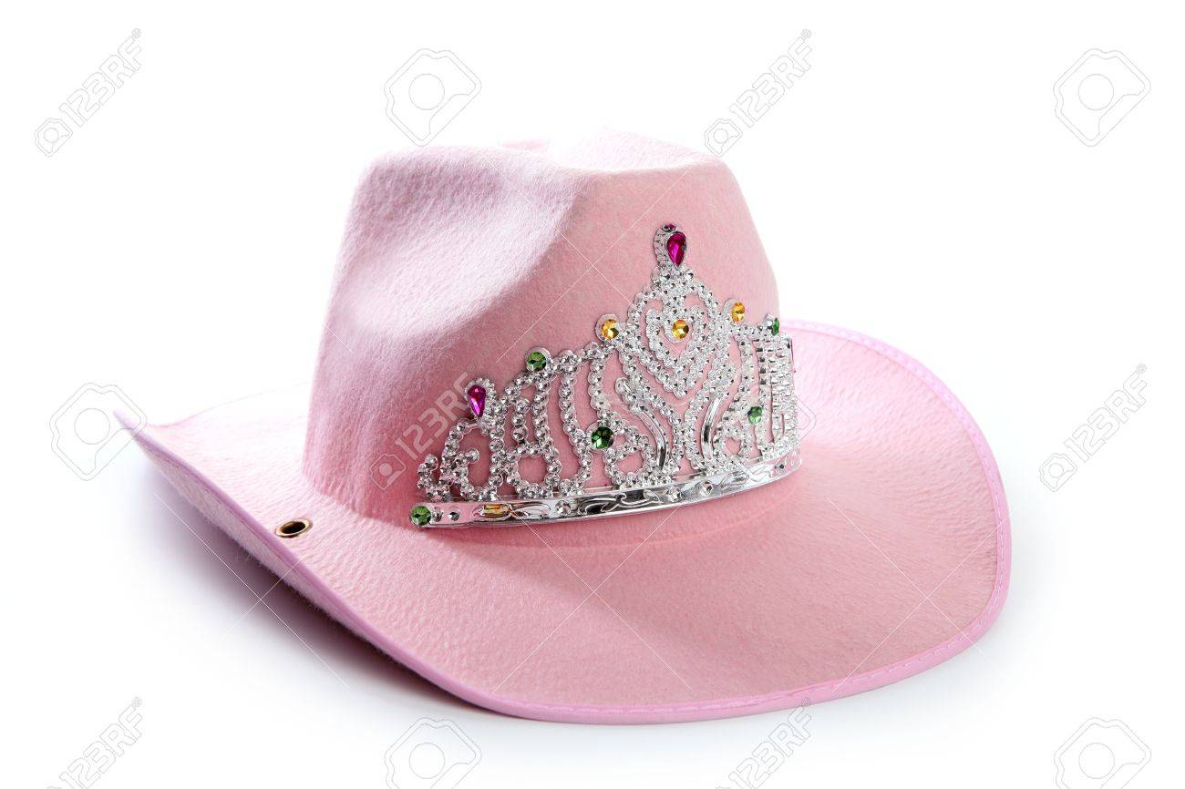 e18f351894198 Children girl pink cowboy cowgirl hat with princess crown Stock Photo -  6350411