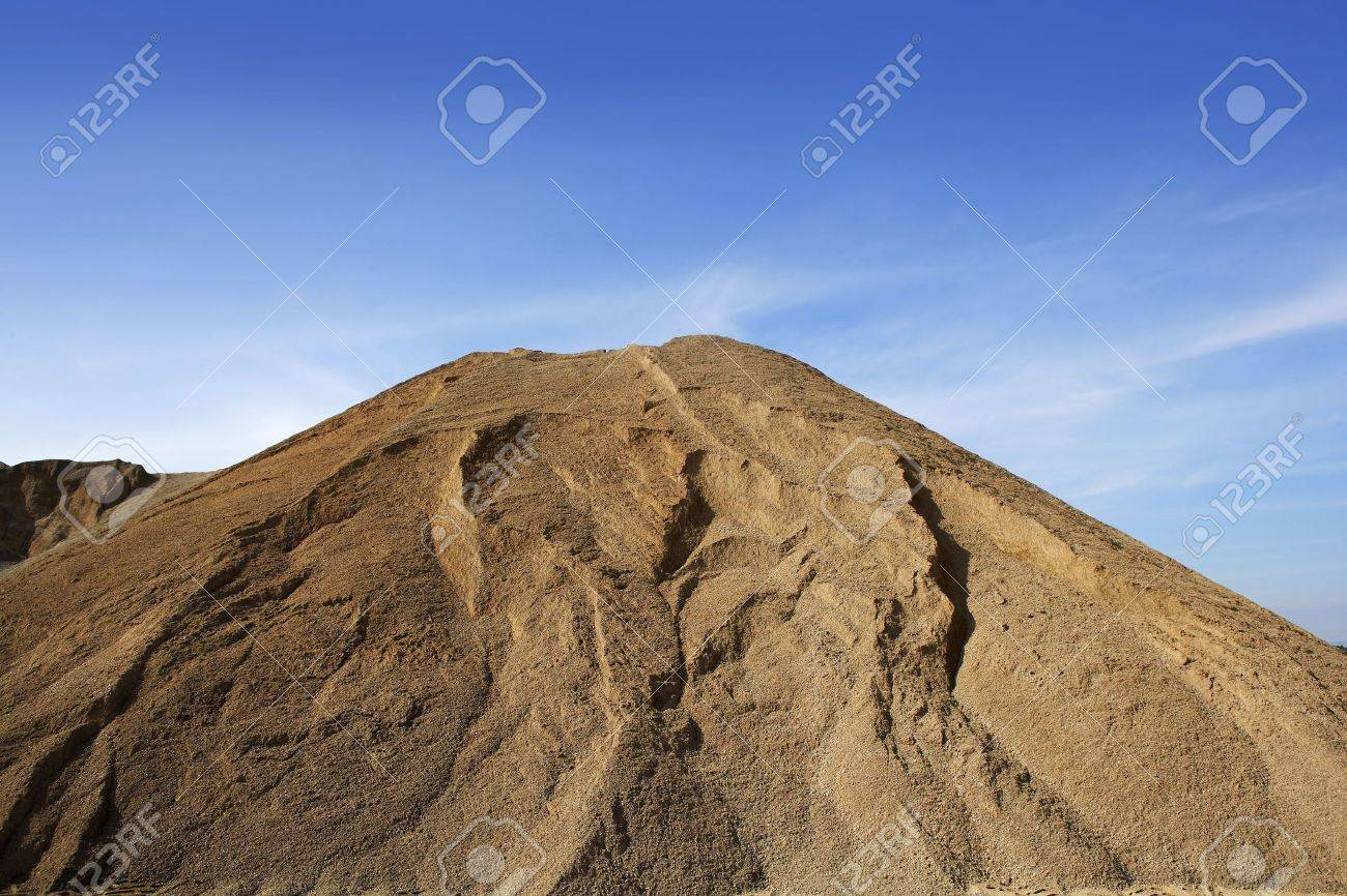 brown construction sand quarry mountain blue sky Stock Photo - 6846814