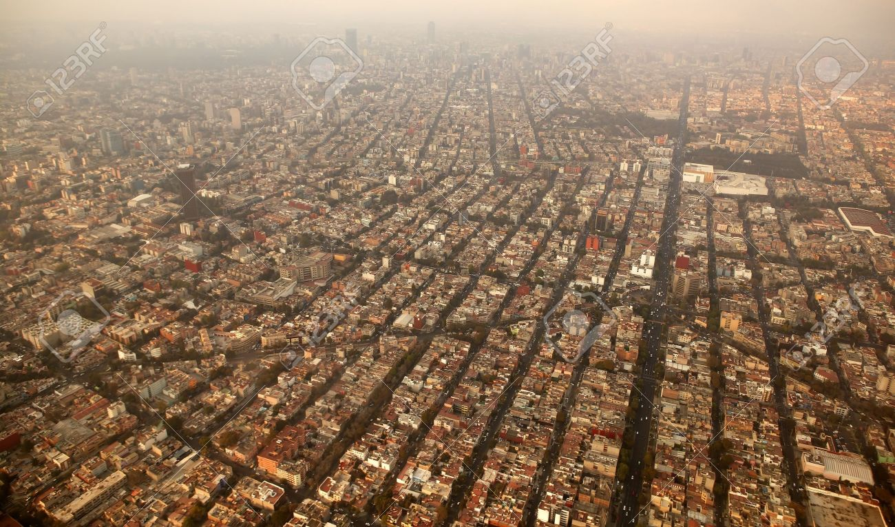 mexico df city town aerial view from airplane central america Stock Photo - 6985767