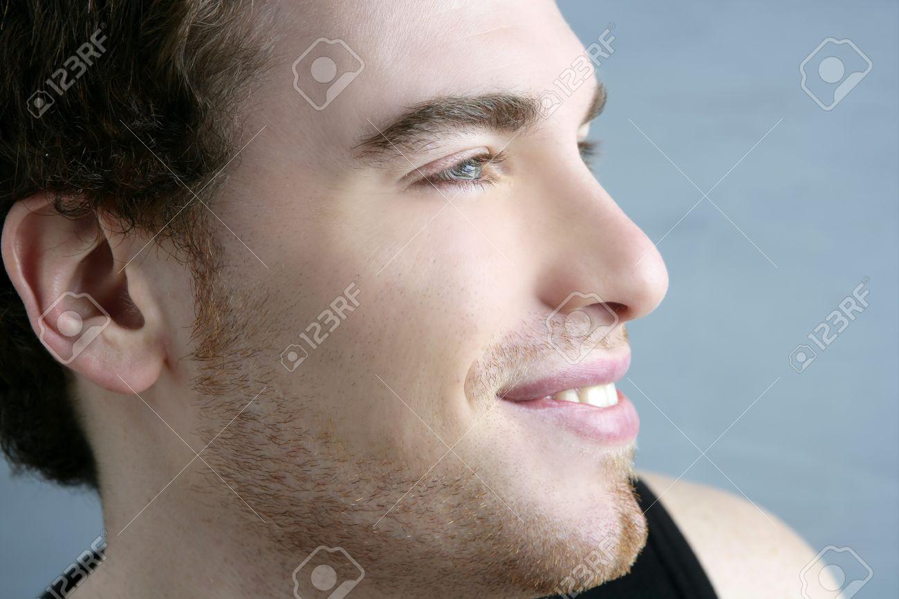 handsome profile smile portrait young man face detail closeup Stock Photo - 7142999