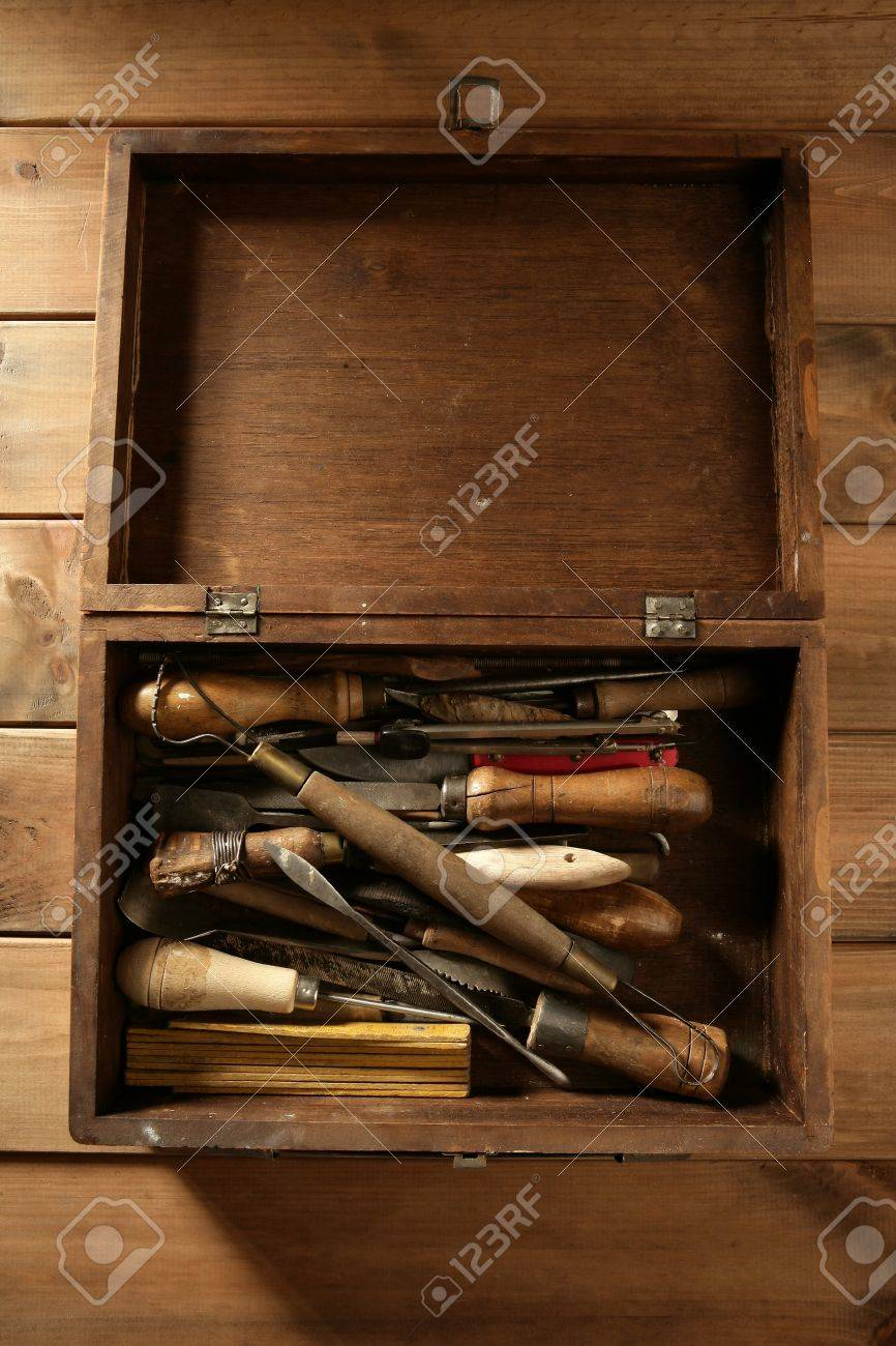 Srtist Hand Tools For Handcraft Works On Golden Wood Background Stock Photo    7240443