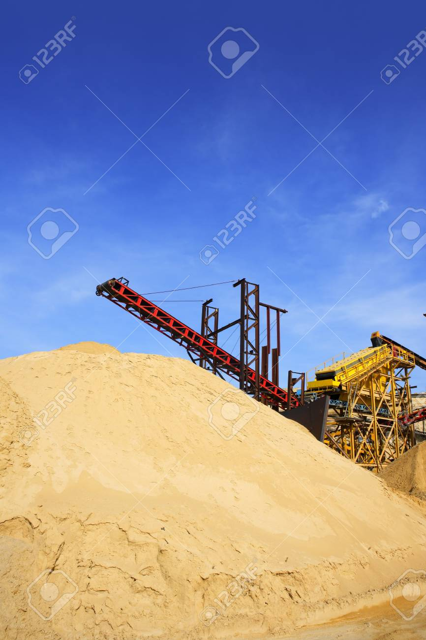 construction sand quarry mountain installation machinery Stock Photo - 7310467