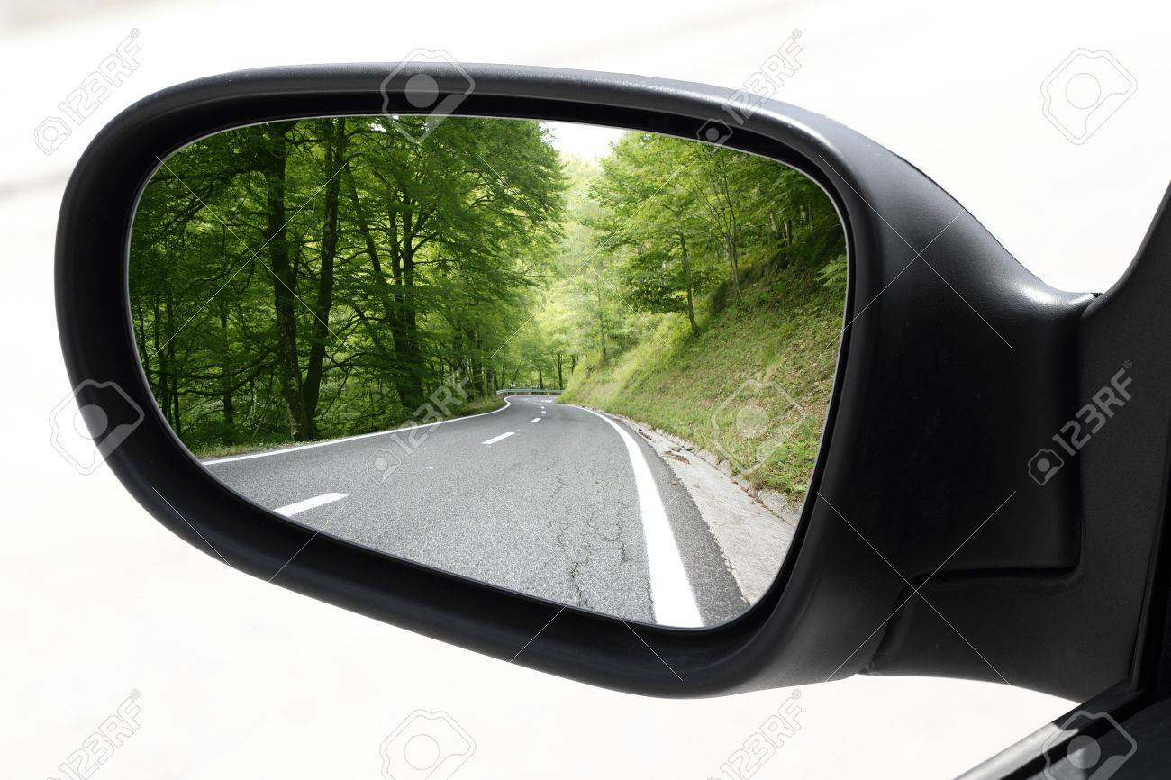 rearview car driving mirror view green forest road Stock Photo - 7516015