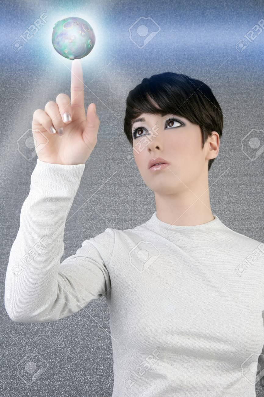digital futuristic businesswoman magic light global planet finger touch Stock Photo - 7591879