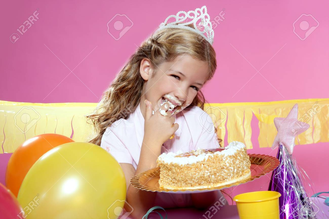 little blond girl  in a birthday party Stock Photo - 7780720