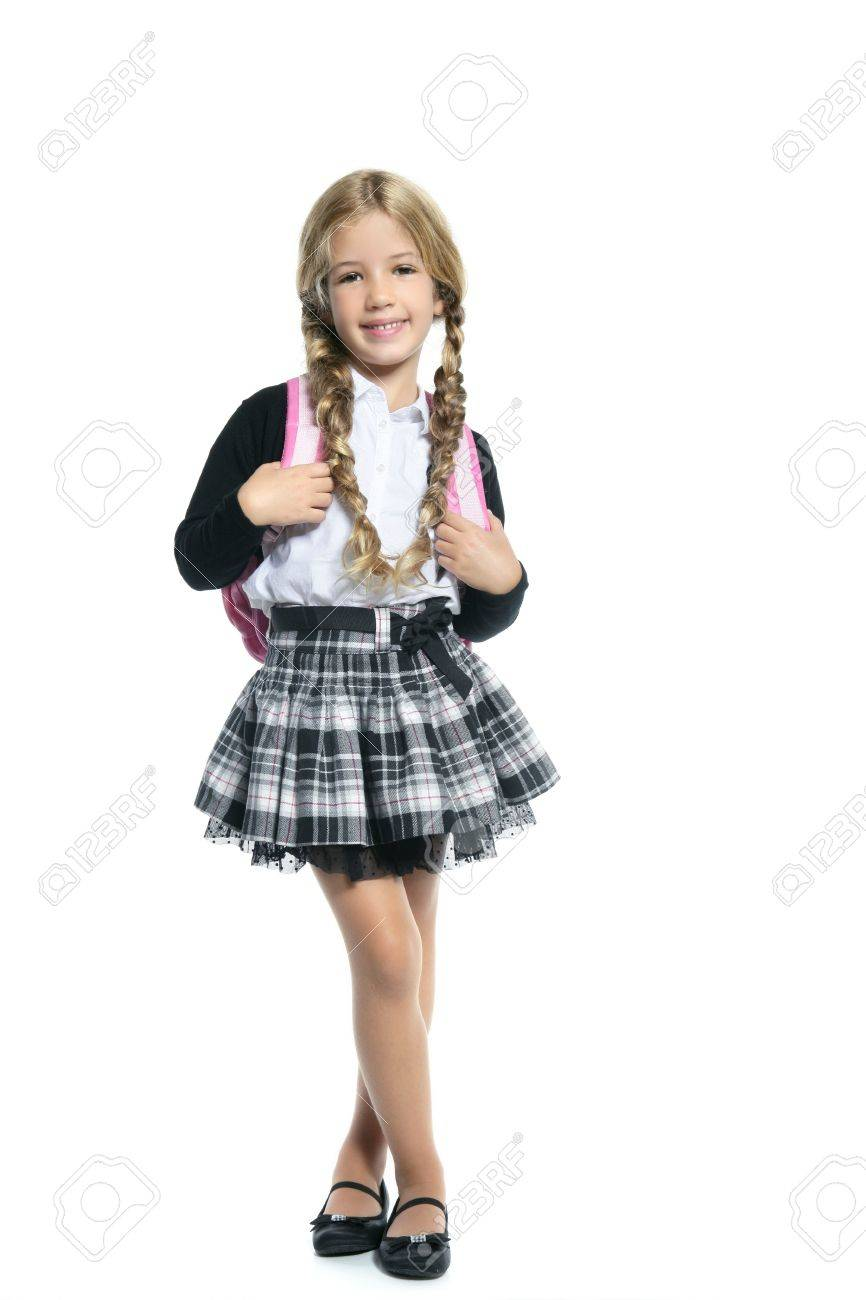 little blond school girl with handbag stock photo picture and
