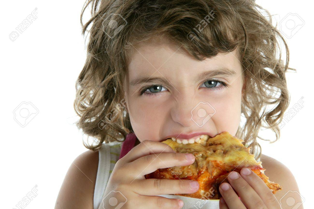 little  girl  eating pizza Stock Photo - 7780729