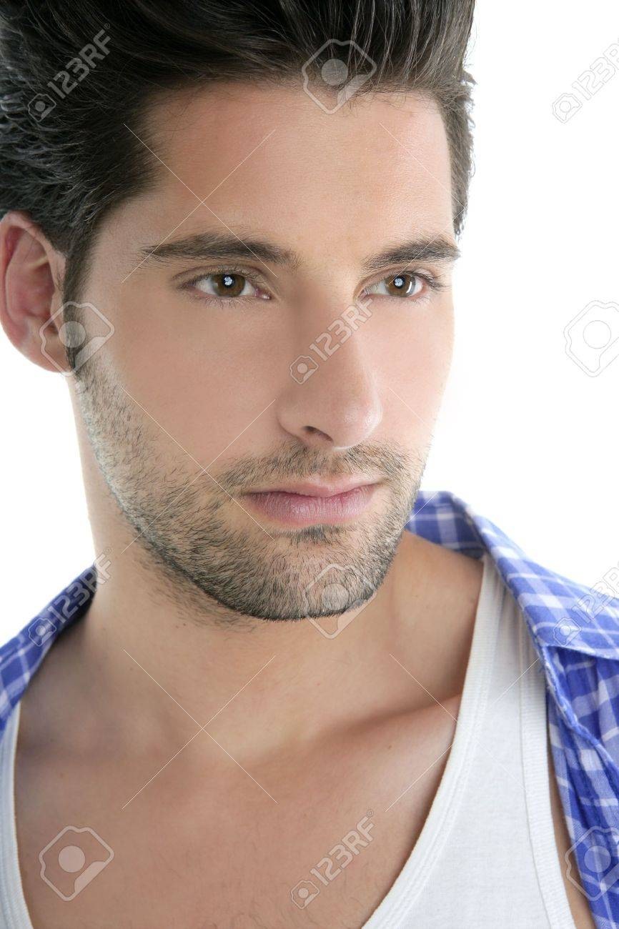 Clean young handsome man closeup portrait blue shirt white background Stock Photo - 7907625
