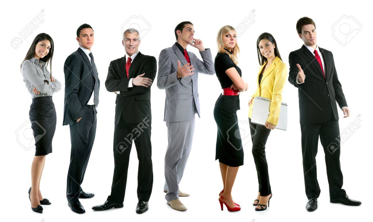 Business team people group crowd full length stand isolated on white background Stock Photo - 7907631