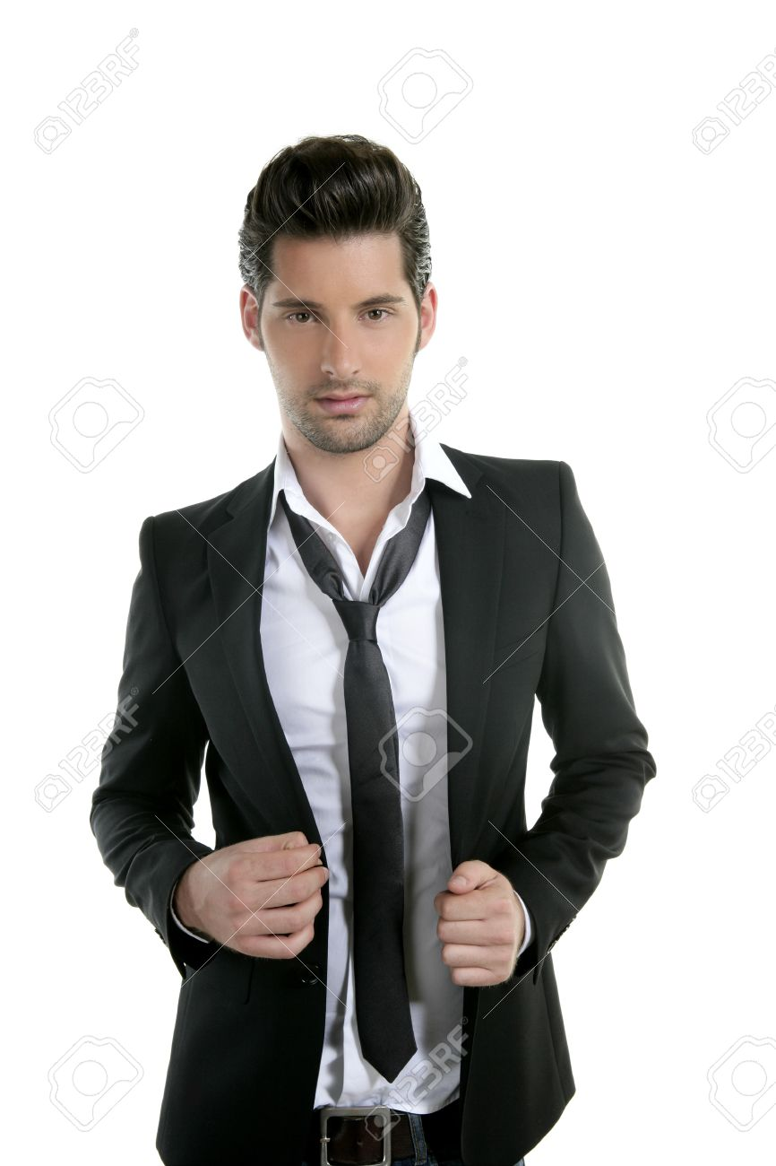 Handsome Young Man Suit Casual Tie Suit Isolated On White Stock