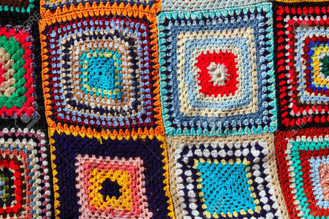Manta De Tejido De Mosaico Colorido Patrón Artesanales De Ganchillo ...