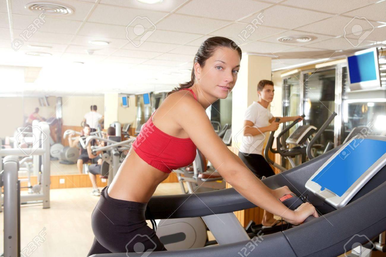 Gym treadmill running young woman interior monitor screen Stock Photo - 8239493
