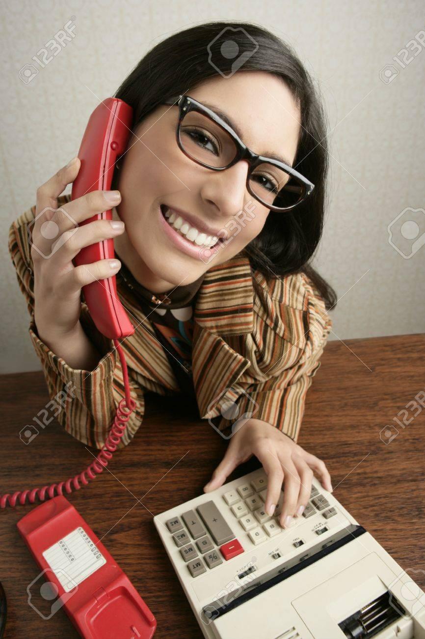 Retro secretary wide angle humor portrait talking telephone woman Stock Photo - 8385012