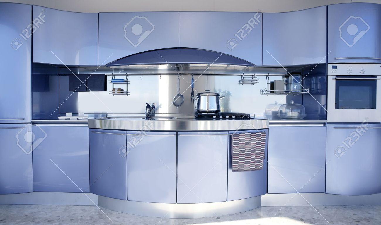 Bleu De Cuisine D'argent L'architecture Moderne D'intérieur ...